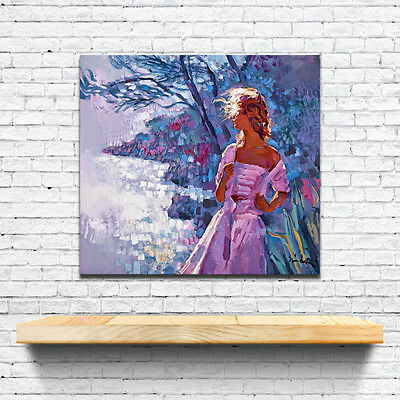 """Original""""flowers and girl""""Oil Painting Print On Canvas Decor Wall Art Framed"""