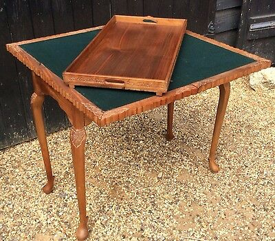 Eastern Carved Folding Card / Games Table With Removable Tray Top.