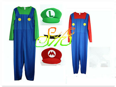 Mens Super Mario and Luigi Bros Plumber Brothers Fancy Dress Outfit Costume UK