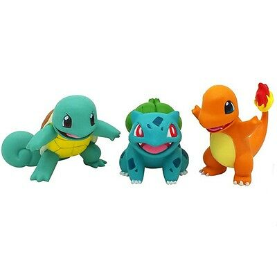 3pc New Bulbasaur Charmander Squirtle Anime Pokemon Figure Tomy EX Takara Toy