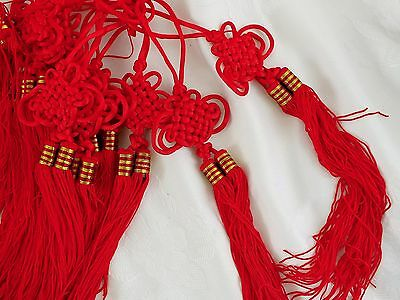 4 ORIENTAL RED 28cm XXL LUCKY KNOT TASSELS CRAFT CHINESE JAPANESE EMBELLISHMENT