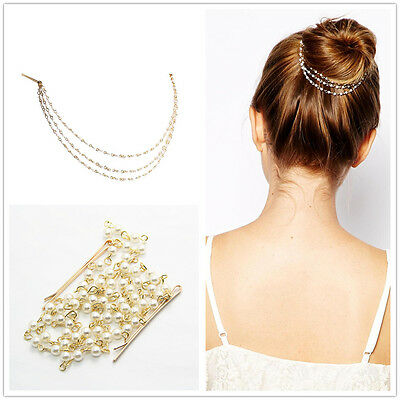 Accessories Dish Hair Clip Pearl Chain Hairpin Tassels