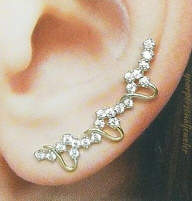 Solid 14k yellow gold hearts ear climber clawlers cuff earings