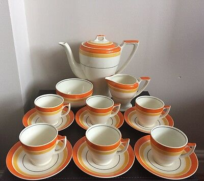 Art Deco Hand-painted Banded Myott Coffee Set