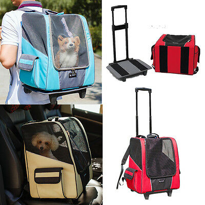 Pet Carrier Dog Cat Puppy Rolling Backpack Travel Wheel Luggage Bag Trolley New