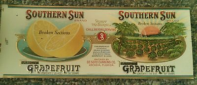 Southern Sun Can Label Florida Arcadia Vintage Advertising Original 1920S Rare