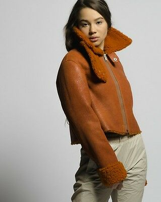 OFERTA! YEEZY CROPPED SHEARLING FLIGHT COAT, Chaqueta mujer, leather, size S