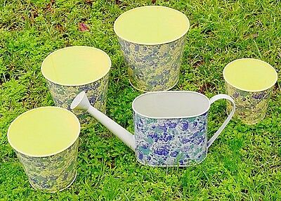Hand Painted Metal Watering Can Kettle Flower Pots Set Country Garden Essential