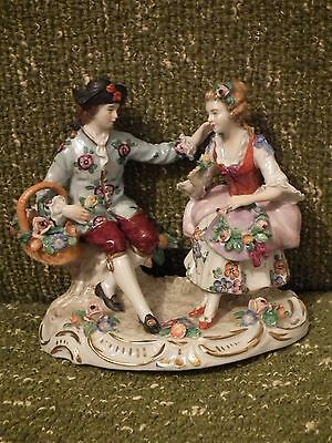 Antique Early 20th Century Sitzendorf Porcelain Figure Group Courting Couple