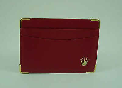 Genuine Rolex vintage red leather card holder