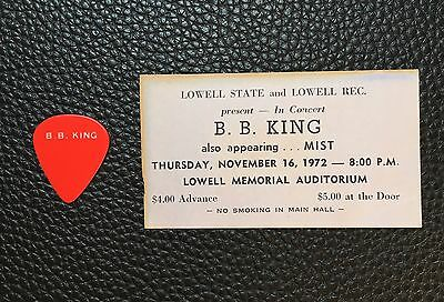 Guitar Pick - Bb King - Real Vintage 1972 Tour Guitar Pick And Concert Ticket!