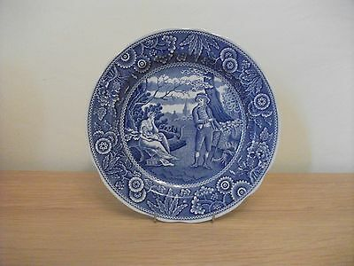 Spode Blue and White Woodman Pattern  Plate Dish