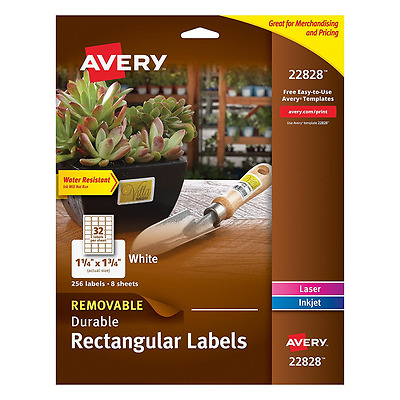 Avery Removable Durable Rectangular Labels, White, 1.25 x 1.75 Inches, Pack of 2