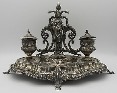 Antique 950 sterling silver Armand Gross French ornate double inkwell Justice