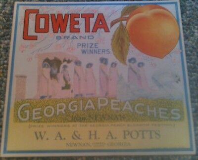Crate Label Vintage Peach Coweta Newnan Georgia Potts Original 1920S Advertising