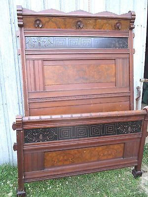 Antique Bed East lake Walnut ORNATE DETAILED OUT, Full Size beautiful wow !!