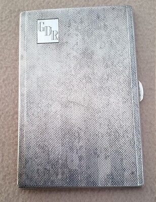 Antique English Art Deco Silver Plate Cigarette / Card Engine Turned Case