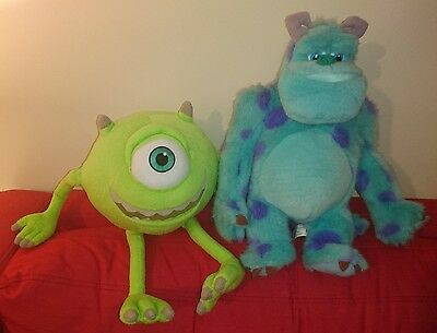 "Disney Store / Channel ~ Monsters Inc 14"" Mike Wazowski & Sully Plush Soft Toys"