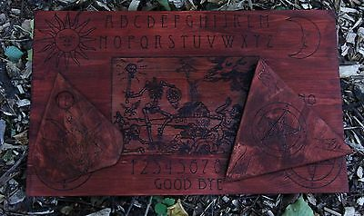 """handmade wooden ouija board """"End of the Days"""" with two planchettes"""
