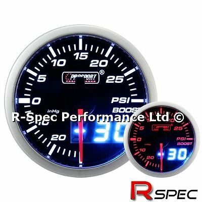 Prosport 52mm Dual Display Amber / White Stepper Motor Turbo Boost Gauge - PSI