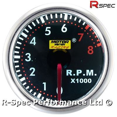 52mm Smoked Super White Rev Counter Tacho RPM Gauge Kit For Petrol Engine