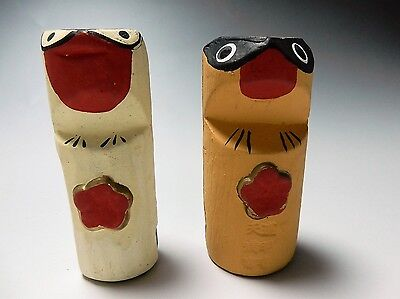 Cute Rare A pair Japanese Ceramic Dorei Coyote Clay Bell Chime Handmade Pottery