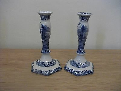 Spode Blue and White Candlesticks Italian Pattern
