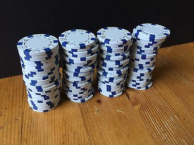 100 x POKER CHIPS - WHITE High Quality HEAVY Dice Motif LOT Bundle