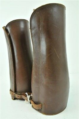 Leather Leg Protectors Chaps Gaiters For Horse Riding Small Size Brown