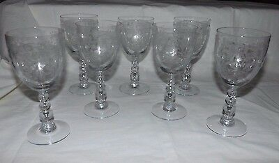 "(Set of 7) Duncan and Miller FIRST LOVE 6 7/8"" WATER Goblets"