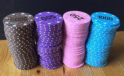 100 x POKER CHIPS (25 of PINK, BLUE, BROWN, PURPLE) High Quality HEAVY Lot