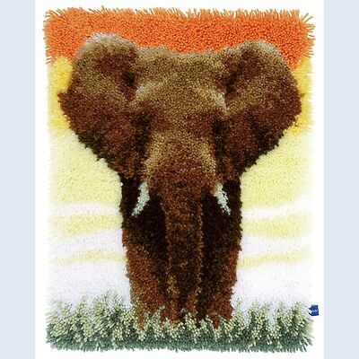 "Latch Hook Rug Kit""Elephant in the Sunset"" 52x38cm"
