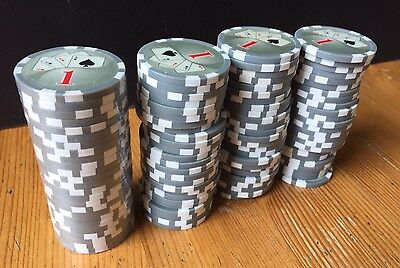 100 x POKER CHIPS - GREY 1s High Quality HEAVY Card Motif LOT Bundle PART SEALED
