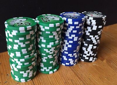100 x POKER CHIPS (50 GREEN, 25 BLUE, 25 BLACK) High Quality HEAVY Card Motif
