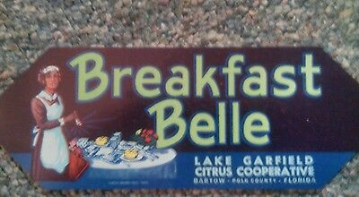 Breakfast Belle Crate Label Florida Vtg  Black Americana Bartow Polk  Original
