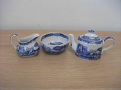 Spode Blue and White Italian Pattern Small Teapot, Cream jug and Sugar Bowl