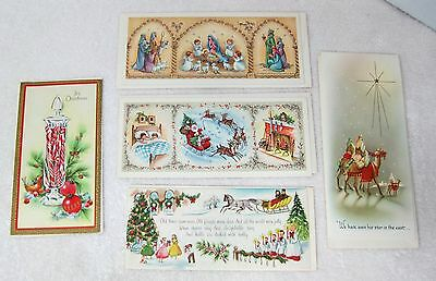 5 Vintage Greeting Card Christmas 1940-50s Candy Canes in Jar Nativity MORE! X9