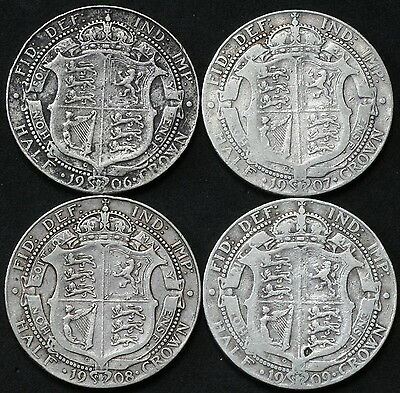 Edward VII 1906, 1907, 1908, 1909 Half-Crowns.