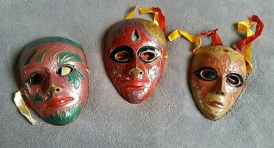 Decorative Wall Masks - Set of 3 - Unique Metal Heavy Rare Beautiful Colourful