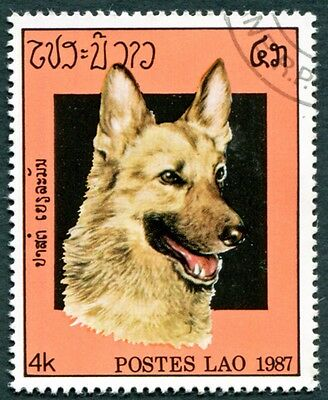 LAOS 1987 4k SG971 used NG Dogs German shepherd b #W31