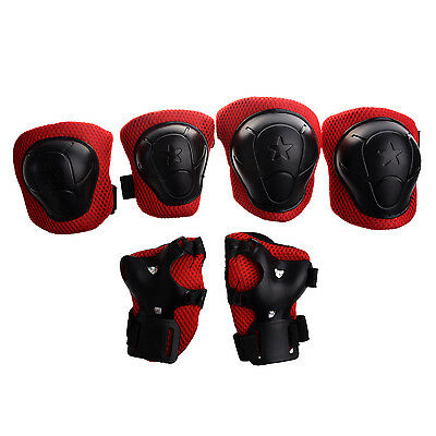 Skating Gear Knee Elbow Wrist Pads Protector Red Black for Kids PK