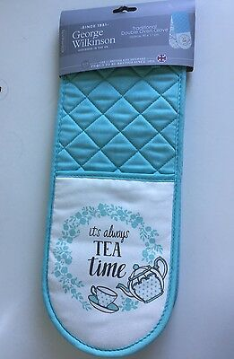 * NEW DUCK EGG BLUE DOUBLE OVEN GLOVES 100% Cotton padded kitchen