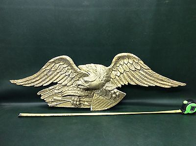 "Large VTG Bellamy Eagle  Cast Aluminum Wall Mount Hanging Plaque 42"" Wingspan"