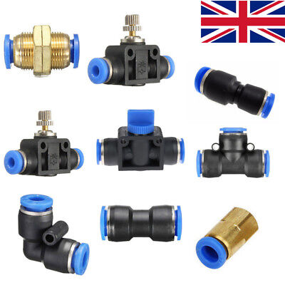 Nylon Pneumatic fittings hose tube inline push fit connector airline elbow
