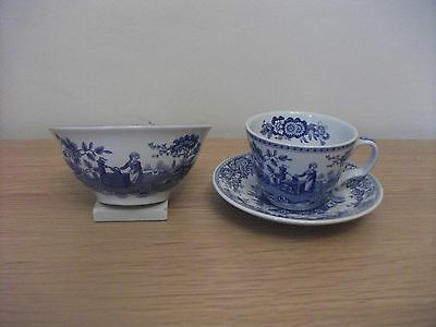 Spode Blue and White Cup Saucer and Bowl Girl at Well Pattern