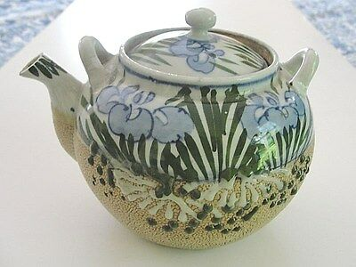 Antique Japanese studio large sharkskin moriage teapot hand painted iris flower