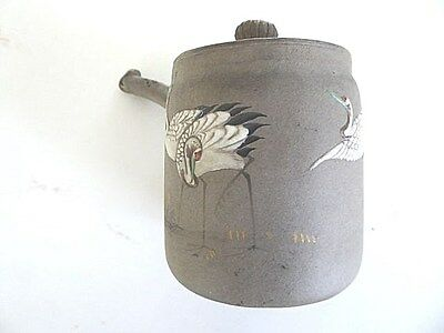Rare antique Japanese Banko artist marked side handle miniature teapot, crane