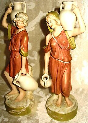 Early 1900's Royal Dux Pair of Water Bearers, Outstanding!