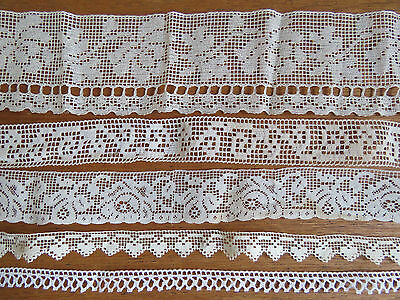 Antique Lace Trims LOT Vintage Edgings 12 YARDS Filet dolls sewing crafts