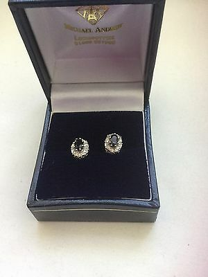 9ct Yellow Gold Sapphire Oval and Diamond Cluster Earrings
